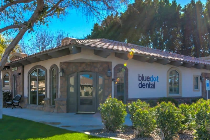 Exterior of Bluedot Dental office on a sunny day